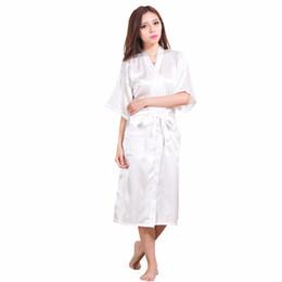 Argentina Al por mayor-Nueva llegada atractiva de las mujeres de seda de la ropa de noche del rayón del kimono de Yukata del vestido de baño color sólido camisones femmes Batas más el tamaño S-XXXL NR045 cheap plus size yukata Suministro