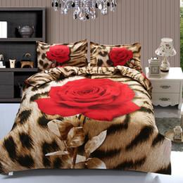 Wholesale Leopard Print Luxury Bedding - Wholesale Brand 3d Bedding Set Luxury Leopard Rose Flowers Pattern Printed Bed Linen 4pcs Duvet Cover Set Flat Sheet Queen Size