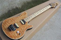 Wholesale Guitar Man - Edward Van Halen Wolf Music Man Ernie Ball Axis Trans Brown Qulit Maple Top Electric Guitar Tremolo Bridge Back Cover Maple Fingerbaord