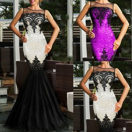 Wholesale Silk Maxi Evening Dress - Women's Silver Sequin Applique Gown Formal Prom Ball Evening Party Mermaid Dress