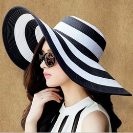 Wholesale Straw Sombreros - Wholesale- Hot new 2016 brand caps girl summer straw hat beach sun hats for women Sexy vogue ladies large brim women fan sombrero