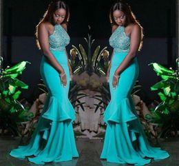 robes de bal turquoise filles noires Promotion Turquoise Vert Perles Halter Robes De Bal Sexy Dos Nu Robe De Soirée Sirène Plus La Taille Noir Filles Formelle Robes De Fête