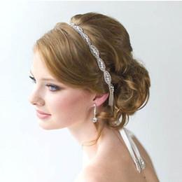 Wholesale Crystal Rhinestone Chaton - European luxury crystal chaton bride hair band wedding hair headdress Ribbon Rhinestone Hair band