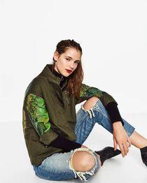 Wholesale Down Coat Ladies Pattern - Wholesale- Graffiti style army green jacket women 2016 autumn Winter casual coat turn-down collar ladies cargon jackets F8998