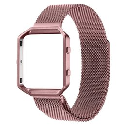 Wholesale Purple Metal Watch - Seven Colors Stainless Steel Magnetic Loop Milanese Strap with Metal Frame Connect Case for Fitbit Blaze FBBZMLCC