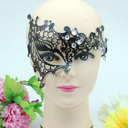 Wholesale Masquerade Masks Laser Cut - Luxury Laser Cut Metal Half Face Mask with Rhinestones Pretty Venetian Masquerade Halloween Mardi Gras Costume Party Mask