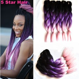 "Wholesale Hair Packing Box - 6 Packs Braiding Hair 24"" 100G black purple pink Color Kanekalon Senegalese Twists pressions Synthetic Jumbo Box Braiding Hair"