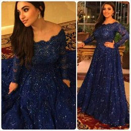 Wholesale lace sparkly long dress formal - Navy Blue Sparkly Vintage Evening Dresses 2017 Cheap Long Sleeves Beads Crystals Ruffled Sweep Train Plus Size Arabic Lace Formal Prom Gowns