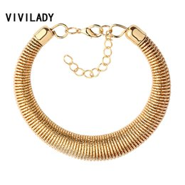 Wholesale Metal Chunky Chain Gold - Wholesale-VIVILADY Statement Metal Wire Spring Chain Cuff Bracelet Women Gold Silver Plated Chunky Jewelry Gifts