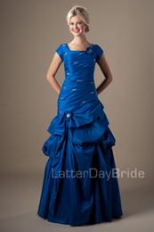 Vintage Royal Blue Taffetas Robes De Bal Modestes Avec Manches Longues Col Carré Corset Retour High School Girls Formelle Robes De Soirée De Bal ? partir de fabricateur