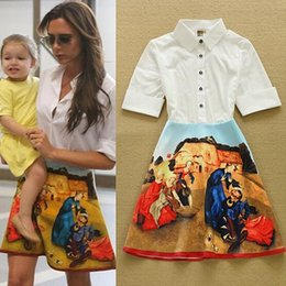 Wholesale Dresses Beckham - Celebrity Fashion Victoria Beckham Dress Women's Half Sleeve Retro Oil Painting Printed Elegant Above Knee Shirt Dress Casual Dress
