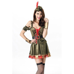 Wholesale Green Elf Costume - New Design Sexy Pirate Costume 5 Pieces Halloween Cosplay Outfits Fantasia Flower Fairy Green Elf Costume for Women A415927