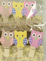 Wholesale craft owls - Lovely Owl Wooden Clip Multi Function Photo Note Peg Pin Clothespin Craft Postcard Clips Home wedding Decoration With Rope 1 6df J R
