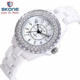 Wholesale Ceramic Clocks - Ceramic watch Fashion Casual Women quartz watches relojes mujer SKONE brand luxury wristwatches Girl elegant Dress clock