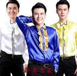 Camisa de vestir de diseño informal de lujo con estilo de moda de los hombres Camisa de boda de camisa de manga larga de moralidad de uno, camisa de baile LLK31 desde fabricantes