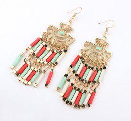 Wholesale Red Tube Beads - Brand New Bohemia Style Vintage Metal Earring Women's Tube Beads Tassel Earrings 6 Colors FH HOOK Earrings 12prs lot Drop Shipping