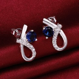 Wholesale Gift Boxes Buy - Fashion Blue Stone Earring Women Stud Earrings with Box Silver Plated Female Wedding Party Jewelry Wholesale Gift For Girls Cheap Buy ER-055