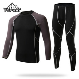 Wholesale Thermo Underwear Set - Wholesale-Free shipping Hot Thermal Underwear Sets Men Sport Fleece Sweat Quick Drying Thermo Warm Clothing XM003