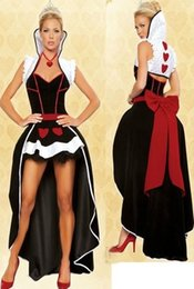 Wholesale Heart Costumes Adults - Wholesale-Free shipping 2016 sexy Queen of Hearts costume women adult fantasy Alice In Wonderland party cosplay fancy costume