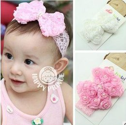 Wholesale Silk Rose Bows - 2016 New Free postage Korean baby hair bow hair ribbon lace pearl with children rose hair band HD115