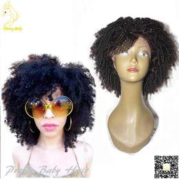 Africane ricci di parrucche online-Parrucche piene del merletto dei capelli umani di merletto di Afro Kinky ricci con frangia Parrucca anteriore del merletto dei capelli ricci mongoli mongolo corto Bob