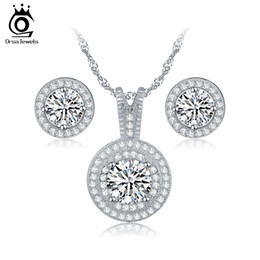 Wholesale Wholesale Crystal Items - Top Sale Items Combining Jewelry Sets for Wedding Round Shape Brillaint Zircon Necklace Earrings Luxury Brides Set OS77