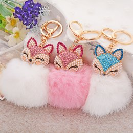 Wholesale Animal Fox Fur - 2016 New Hot Fur Ball Key Chain For Girls 7 Colors Fox Pendant Rhinestone + Plush Car Handbags Key Ring Women Key Ring