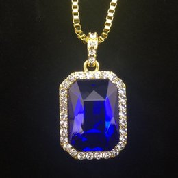 """Wholesale 14k Gold Mens Chains - New Mens Bling Faux Lab Ruby Pendant Necklace 24"""" 30"""" Box Chain Gold Plated Iced Out Sapphire Rock Rap Hip Hop Jewelry For Gift"""