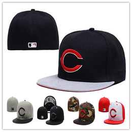 Wholesale Baseball C - Cheap Reds Fitted Caps Baseball Cap Embroidered Team C Letter Size Flat Brim Hat Reds Baseball Cap Size