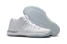 Wholesale Pure Leather Shoes For Men - 2017 New Pure Money 31 Low White Silver Mens Basketball shoes 13s Sports Sneakers Men For Sale High Quality With Shoes Box