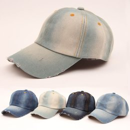 Wholesale Vintage Cowboy Hats - hot sale 2016 summer Vintage women cowboy baseball cap ladies snapback hats denim jeans leisure travel caps Sun hat 5 colors B796