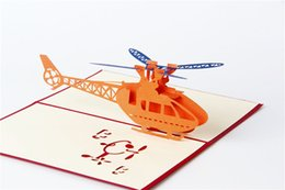 Wholesale Birthday Wishes Gifts - 3 D gift card The helicopter paper carving greeting card Red cover greeting card invitation CARDS