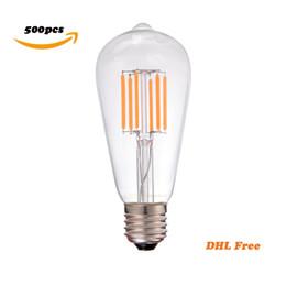 Wholesale Cct Led - DHL Free,500pcs lot,2200K CCT,Vintage LED Filament Bulb,4W 6W,Edison ST58,Decorative Household Lights,Dimmable