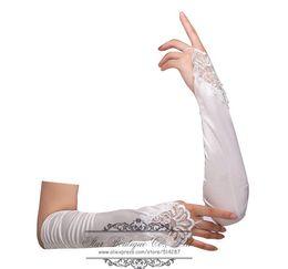 Wholesale Cotton Bridal Lace Appliques - Wholesale-White Ivory Fingerless Wrist Length Lace Appliques Beading Bridal Gloves Wedding Glove