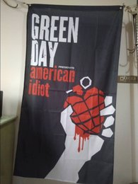Wholesale American Poster - Green Day Poster Flag 90 x 150 cm Polyester American Idiot Album Cover Punk Rock Band Music Wall Hanging Banner