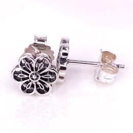 Wholesale Lace Earrings - Jewelry Accessories Wholesale Authentic S925 Silver Floral Daisy Lace Stud Earrings Fits European Pandora Style Jewelry