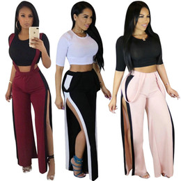 Wholesale Sexy Suspender Sets - Hot New Sexy T-shirt+suspender Trousers Fashion Women's Sets Casual Split Tops Belt Pants Ladies Two-piece Set Club women's clothes