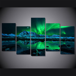 Wholesale Canvas Paintings For Christmas - 5 Pcs Set No Framed HD Printed aurora borealis Painting on canvas room decoration print poster picture canvas christmas decorations for home