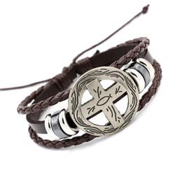 Wholesale Cross Bracelet Rope - Newest Cross Shield Infinity Bracelets Fashion Vintage Multilayer Braided Leather Charm Bracelet Wristband For Men Women Personality Jewelry
