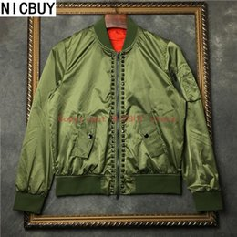 Wholesale Black Metal Jacket - winter men green MA1 Bomber Jacket Military Army metal star baseball outwear coat thin Windbreaker Jacket