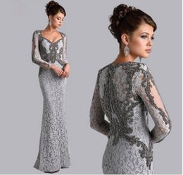 Wholesale Grey Mermaid Dress - Silver Grey Long Sleeves Mermaid Mother of the Bride Lace Dresses Beaded Saudi Arbia Long Evening Party Gowns Plus Size Mother Formal Dress