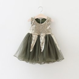 Wholesale Metallic Tulle Wholesale - [Eleven Story] Girls summer shining sequined dress children hot sell clothes wholesale baby kids tulle clothing BS511DS-49
