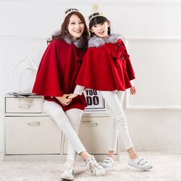 Wholesale Womens Poncho Wholesale - Mother and dauther coat Christmas outwear girls fleece hooded red princess shawl womens BOWS woolen trench coat winter kids poncho R0021