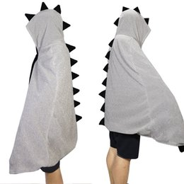 Wholesale Reversible Capes - Reversible Style Dinosaur Velvet Hooded Cloaks Winter Wedding Capes Wicca Robe Warm Hallowmas Christmas Black And Silver Events Accessories