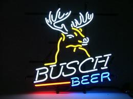"Wholesale Deer Signs - Brand New Busch Light Deer Real Glass Neon Sign Light Beer Bar Pub Arts Crafts Gifts Lighting 22"""