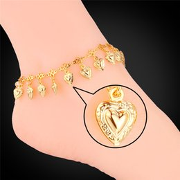 Wholesale Gold Heart Anklets - U7 Love Gift Heart Charms Anklet Bracelet 18K Real Gold  Platinum Plated Summer Jewelry Anklets for Women Foot Jewelry A944