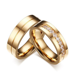 Wholesale Free Promise Rings - Trendy Wedding Bands Rings For Women Men Lovers Gold-color Stainless Steel CZ Promise Jewelry Free Shipping
