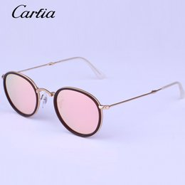 Wholesale Designer Folding Sunglasses - 2016 Hot Summer New Arrival Carfia Brand Designer 3517 Mirror Metal Frame Folding Round Sunglasses for Man and Women Unisex Sun Glasses