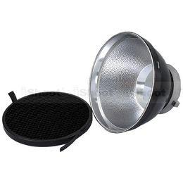 Wholesale Diffuser Shade - iShoot 18cm Metal Lame Shade Reflector Softbox Diffuser + Honeycomb Grid for Bowens Mount Studio Strobe Flash