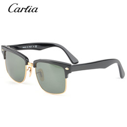 Wholesale Half Frame Square Glasses - 2016 Hot Summer Fashion Classical Sunglasses 4190 for Men and Women Square Mental Plank Frame Black frame with green glass lens freeshipping